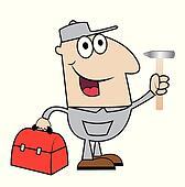 man locksmith with a hammer