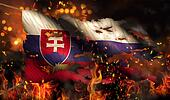 Slovakia Burning Fire Flag War Conflict Night 3D