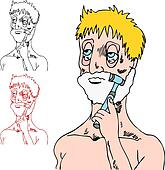 Tired Man Shaving