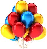 Bunch of helium balloons multicolor