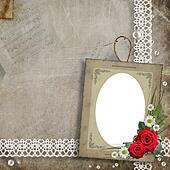 Old decorative frame with flowers and pearls