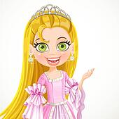 Lovely little princess in a tiara and a pink ball gown
