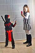 Purim (Halloween): siblings dressed up as soccer referee and nin