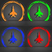 fighter icon symbol. Fashionable modern style. In the orange, green, blue, green design.