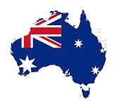 Australia flag on map