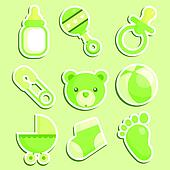 Green Baby Shower Icons