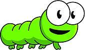 Inquisitive green cartoon caterpillar