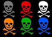 Set of colored skull and crossbones