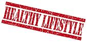 healthy lifestyle red grungy stamp on white background