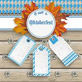 Oktoberfest Price Stickers Autumn Foliage Wood