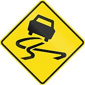 New Zealand road sign - Slippery road surface