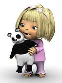 Cute toddler girl holding panda bear.