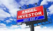 Angel Investor Inscription on Red Billboard.