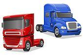 big blue and red trucks illustration