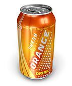 Orange soda drink in metal can