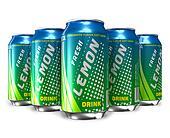 Set of lemon soda drinks