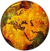 hungary flag on globe map
