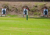 Outdoor shooting target in lawn