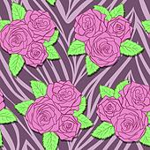 beautiful bouquets of roses on animal abstract print.