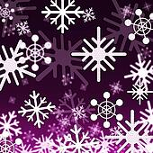 Purple Snowflakes Background Shows Snowing Winter And Seasons