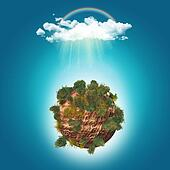 3D trees on rocky globe