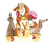 dogs on exhibition podium