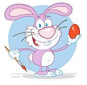 Happy Pink Rabbit Painting