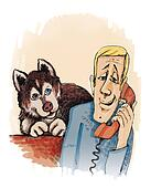 man calling and husky dog