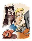 husky dog his owner and phone calling