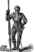 Henry VII armor, King of England, old engraving