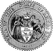 Seal of Arkansas prior to 1907 old engraving.