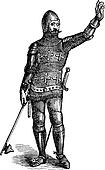 French soldier in armor in 1370, old engraving