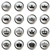 Crown and tiara silver icons set