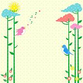 Retro background Greeting Card with birds