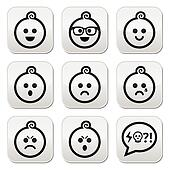 Baby boy faces, avatar vector butto