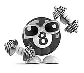 3d Eight ball lifts weights at the gym