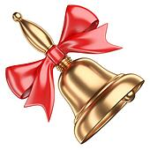 Gold school bell with red ribbon and bow.
