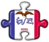 Iowa (USA State) button flag puzzle shape