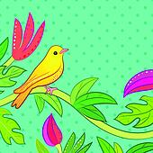 Bright yellow, orange little tropical forest bird and wild green tree and red, pink flower on dot background. Vector illustration for pretty beautiful design. Hand drawn card with place for text.