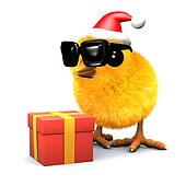 3d Easter chick celebrates Christmas with a gift