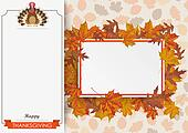 Oblong Banner Foliage Thanksgiving Turkey Paperboard