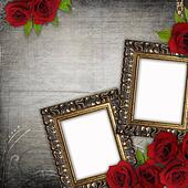 Bronzed vintage frames on old grunge background (1 of set)