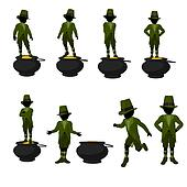 African American Leprechaun Boy Illustration Silhouette