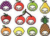 happy fruit faces, vector