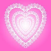 Shiny white lace-like heart, love s
