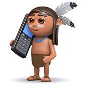 3d Native American Indian chats on cellphone