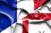 Waving flag of England and France