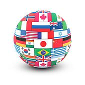 World flags on globe