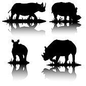 vector silhouettes of hippopotamus