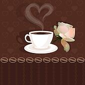 Coffee cup and flower rose
